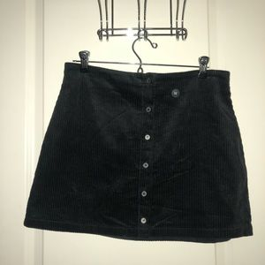 Kendall and Kylie Black Button Down Velvet Skirt